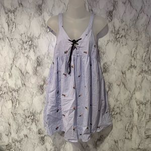 Zara Floral Embroidered Lace Up Dress Sleeveless